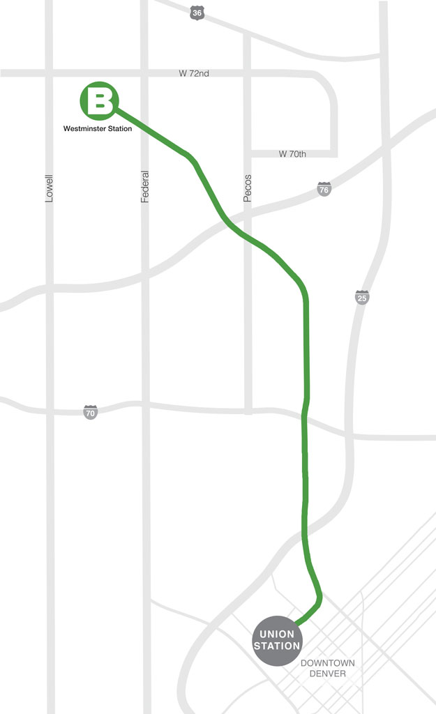 Aerial street map of the B line