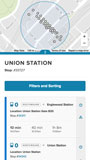 App displays all stops within 1/8 mile radius of union station