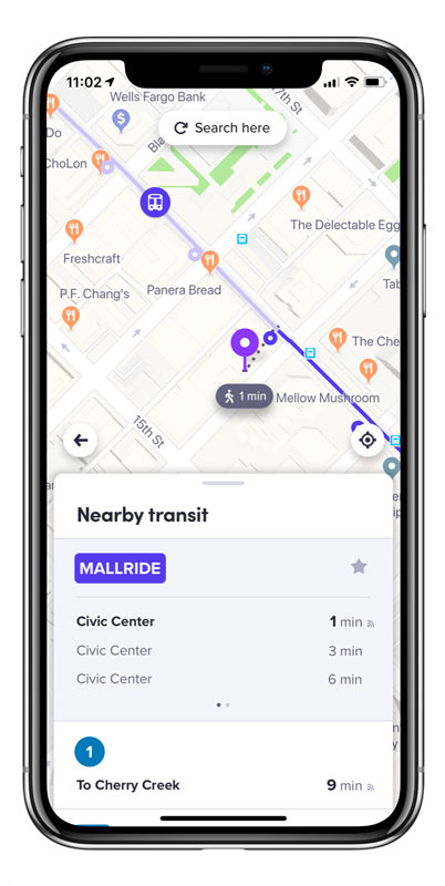 Screenshot of Lyft Nearby Transit app that shows times of the Mallride