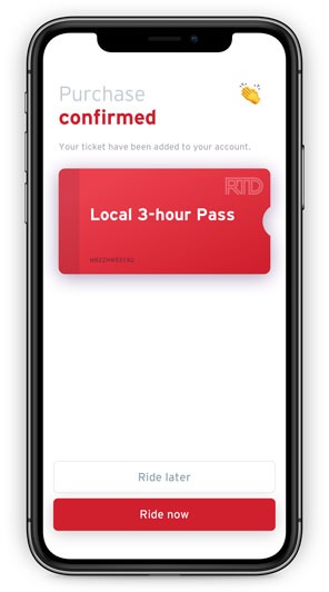 Transit app screen displaying ticket purchase confirmed message