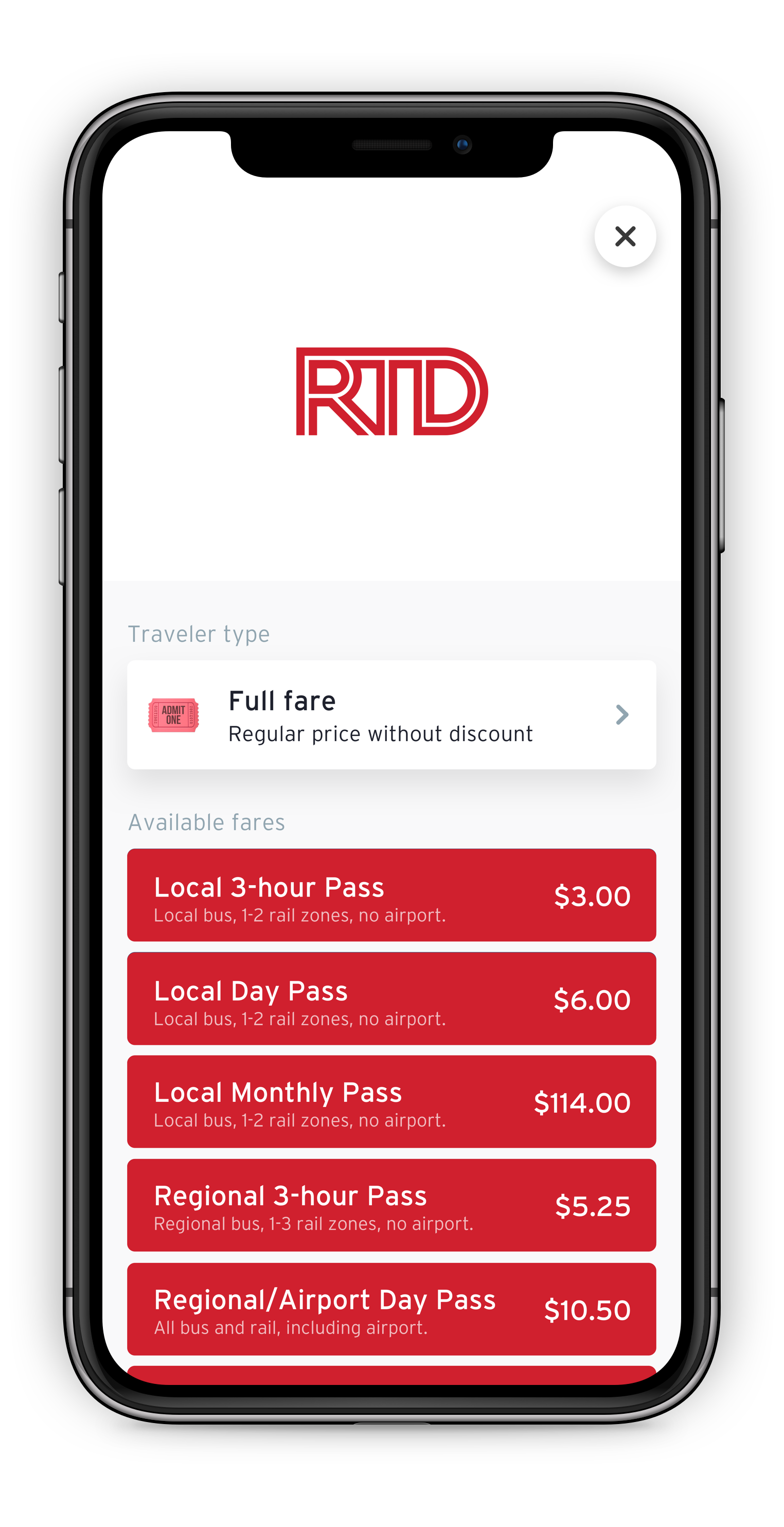 Transit App Ticketing Options for RTD