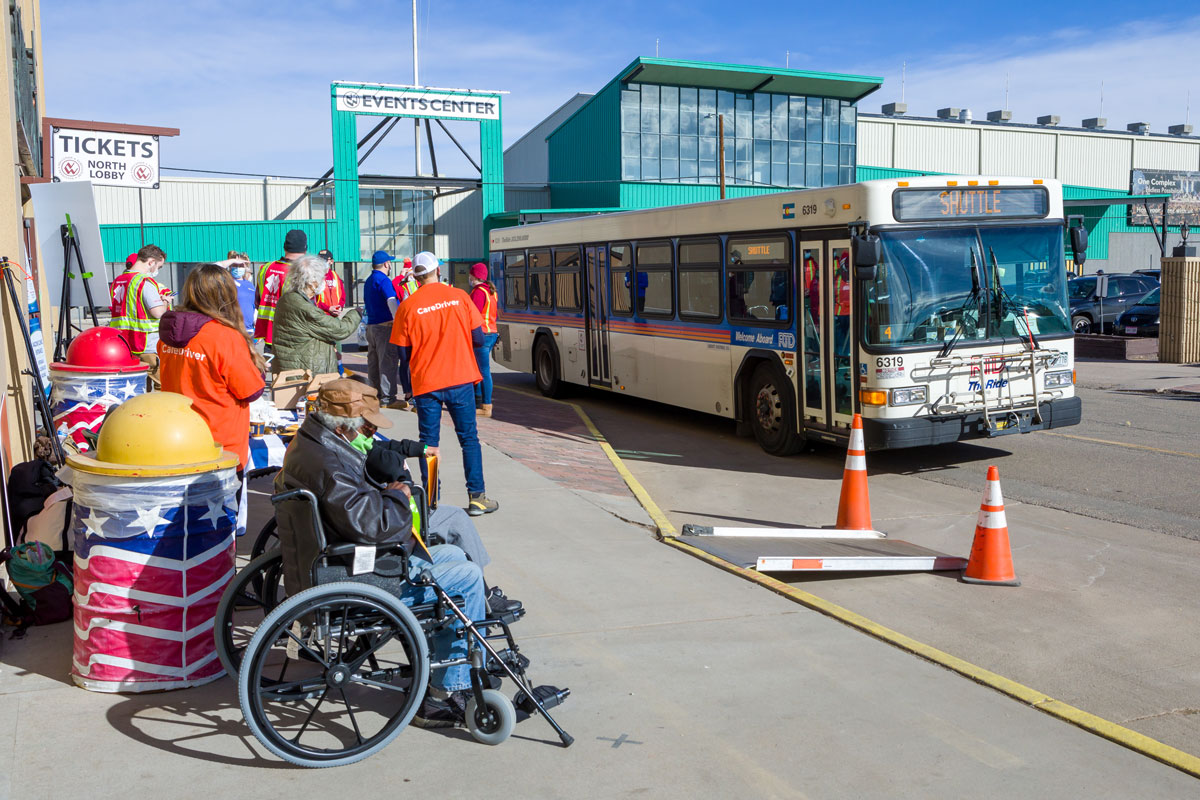 RTD Bus Shuttle at SCL Health COVID-19 Vaccination Event with passengers and staff