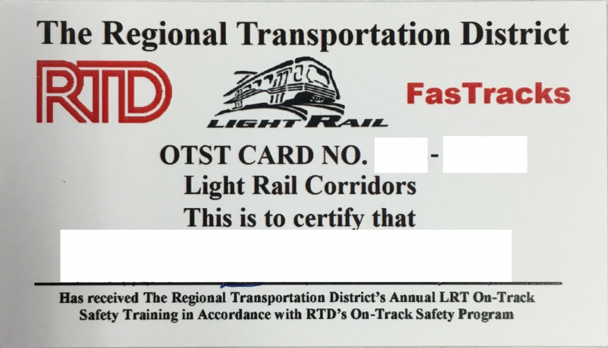 LRT OTST railroad safety card