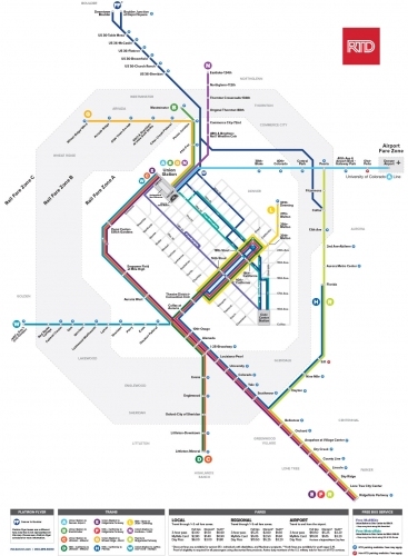 RTD Rail and Flatiron Flyer map - September 2020