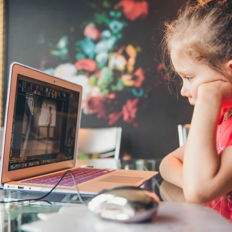 Girl learning remotely