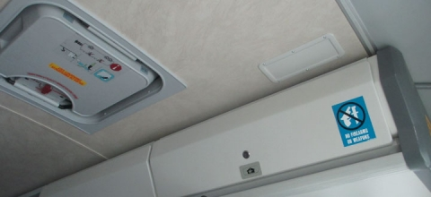 roof hatch on interior of bus