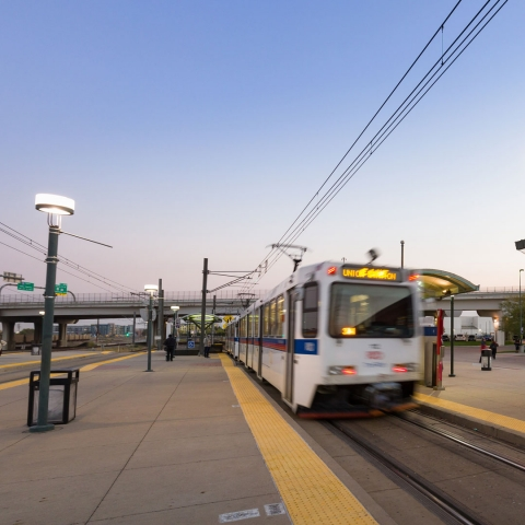 38th & Blake station with train departing