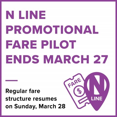N Line Promotional Fare Pilot Ends March 27